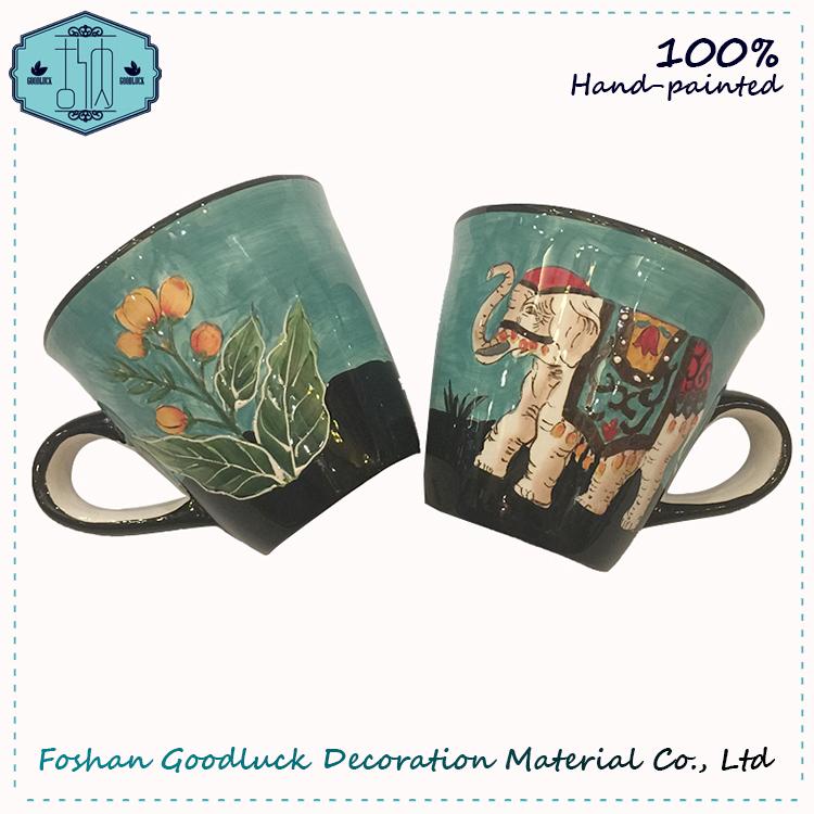 Grace Designs Hand Painted Thai Blue Elephant Big Animal Ceramic Mug