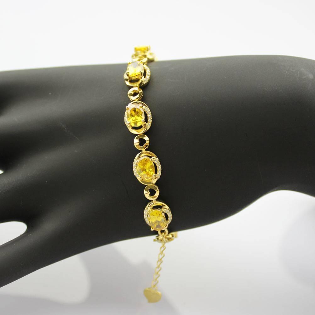 18K Gold Plated 925 Silver Jewelry Pave Cubic Zircon Bracelet (B06)
