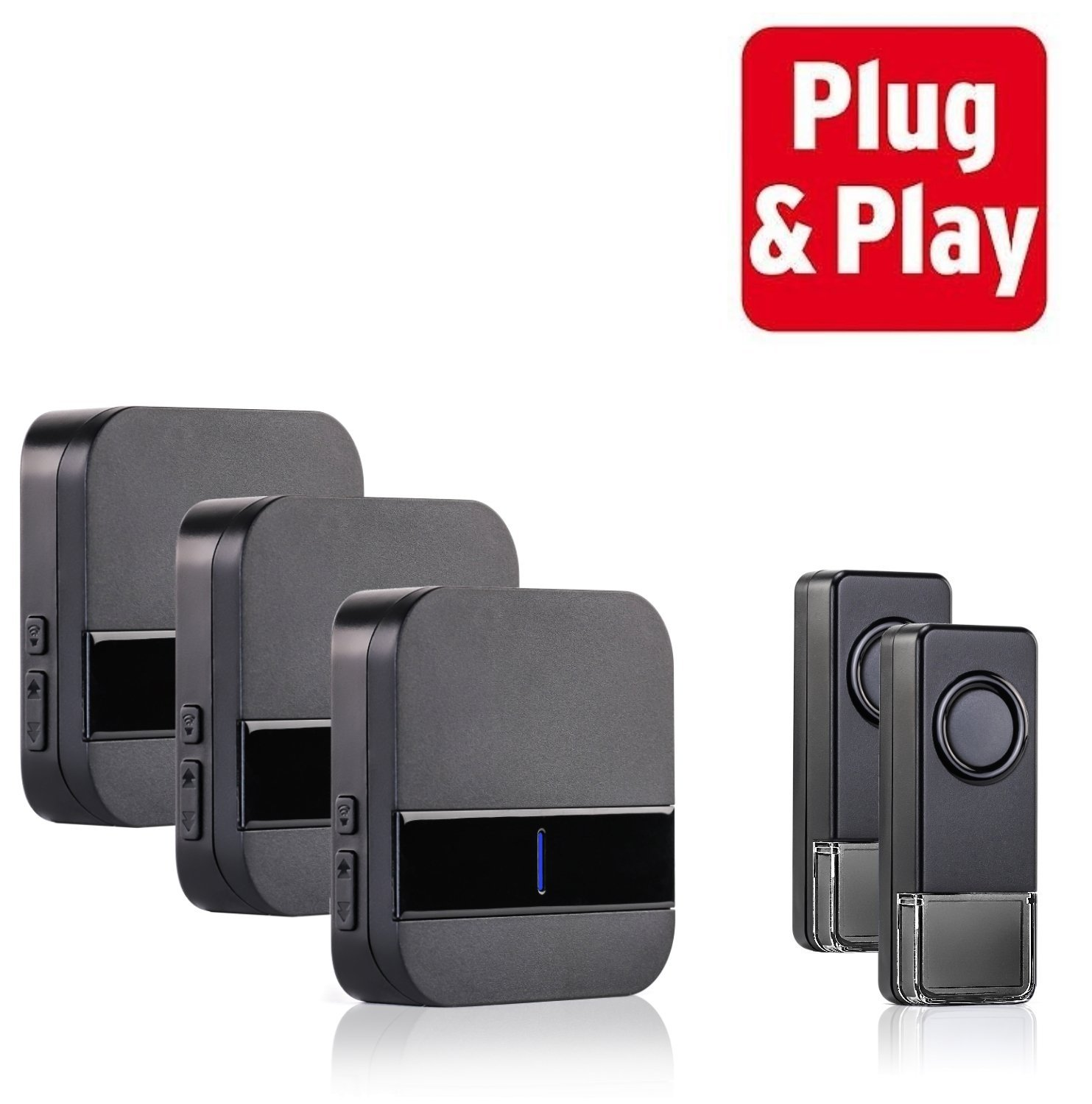 Black doorbell wireless wired door chime with wireless extender wireless doorbell with multiple chim