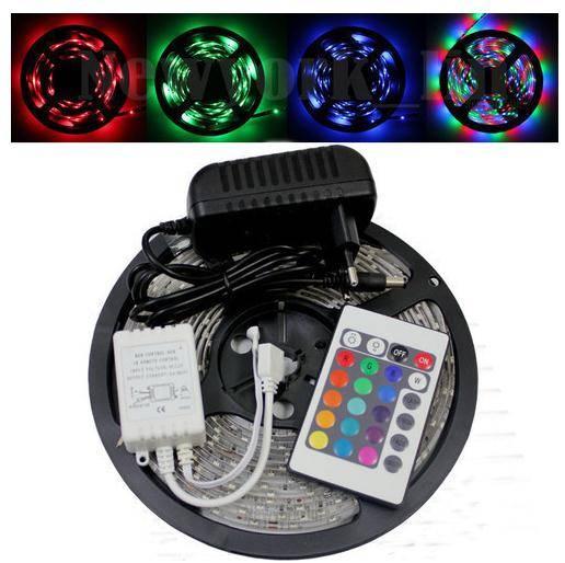 Sell led strips lightings 3528 RGB 300LED SMD 5M 500CM Light Strip Waterproof+24Key IR+12V 2A Power