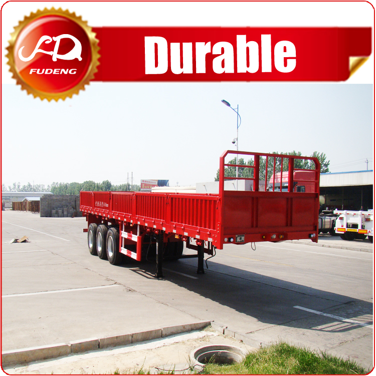 Factory manufacturer 3 Axle 50ton Flatbed Cargo Trailer , 40ft side wall trailers