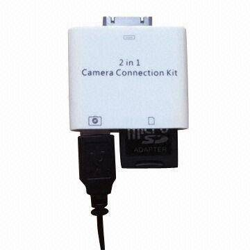 2-in-1 Camera Connection Kit for iPad/iPad2, Supports Standard Photo Formats Including JPEG and RAW