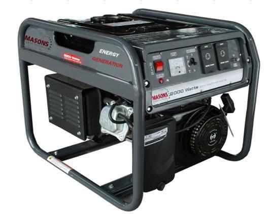 Masons PRH2500, 2000W rated power,2200W starting watts 50/60Hz portable gasoline petrol generators