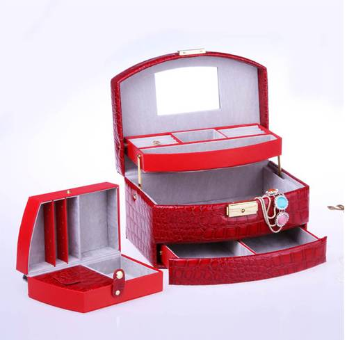 High-grade Jewelry box,Fold-out Jewellery Case,red leather Jewelry display