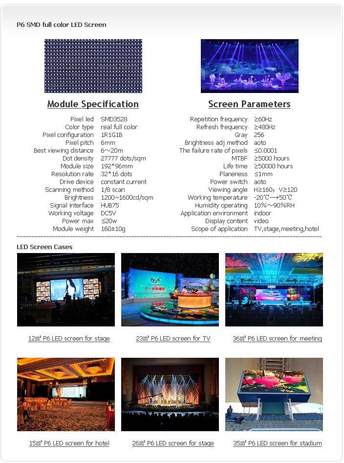 Selling Indoor P6 SMD 1R1G1B LED screen