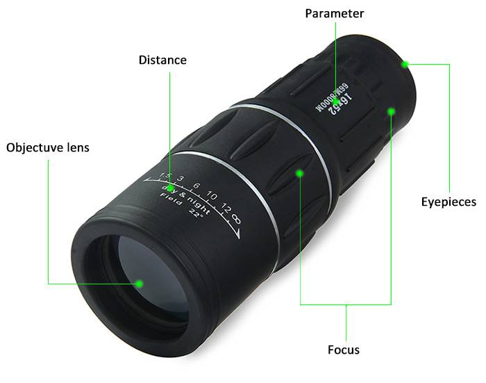 Dual Focus 16x52 Telescope Monocular Sports Optics