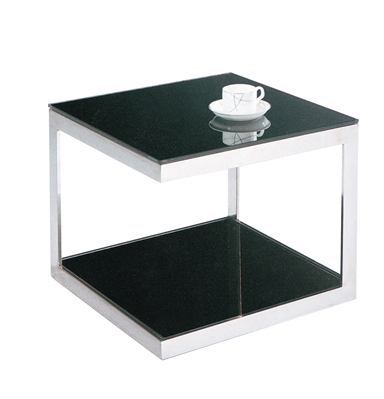 SHIMING furniture MS-3321 Black tempered glass square practical side table