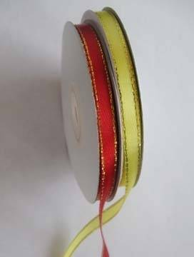 Satin ribbon with golden line