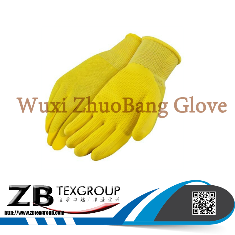 10G-15G Yellow Polyester /Nylon Textured Latex Coated Palm working glove en388