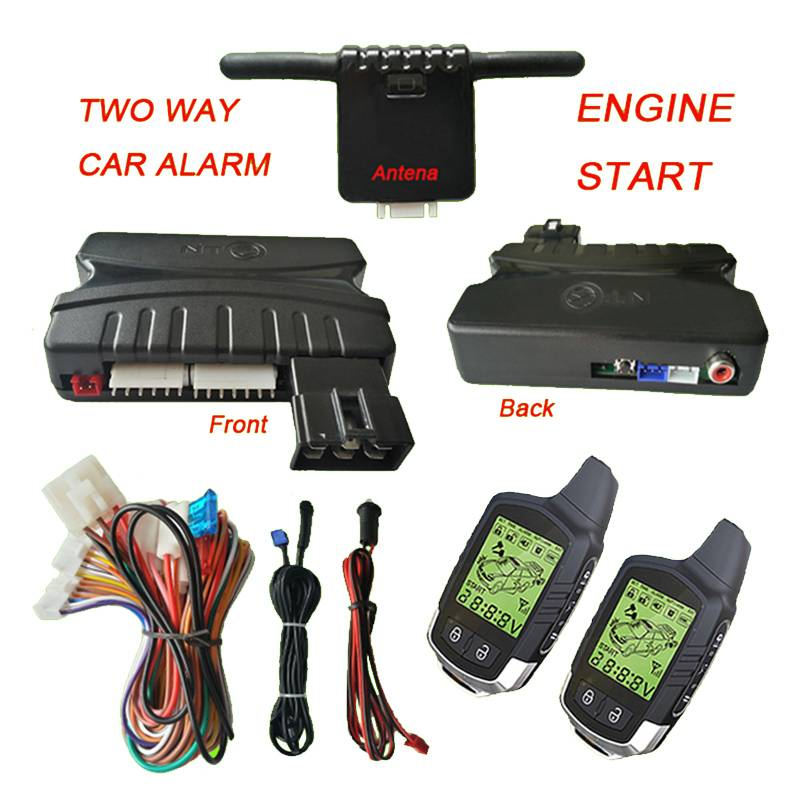 Two-way car alarm with engine start