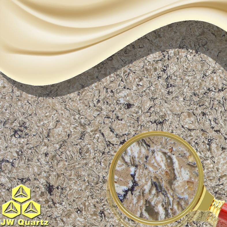 JW-6816 Gold Rush-Golden glass debris inside Quartz Stone Slab for Countertop