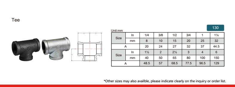 China Malleable iron pipe fitting Tee-130 with high quality and proper price