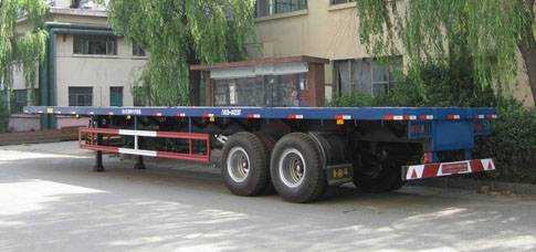 Dual-axle Flatbed container carrier Semi-trailer