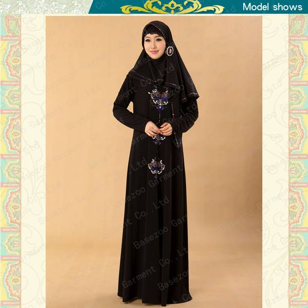 2013 new design embroidered knitted kaftan dresses islam MF19498