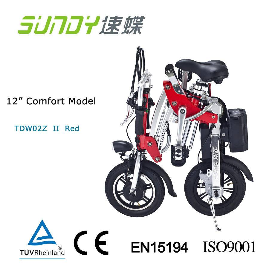 12-Inch Aviation Aluminium Material Mini Folding Electric Bicycle-red