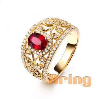 Fine Jewelry Solid 18k 9k 14k Gold Vintage Style Ruby Rings Lab Created