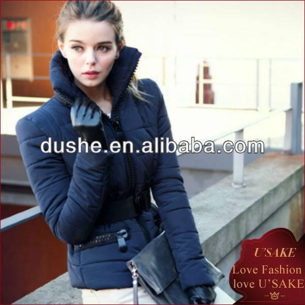 ladies dark blue elegant short winter down jacket S123490