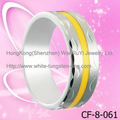 New Style tungsten ring Carving Tungsten Ring with Yellow resin inlay