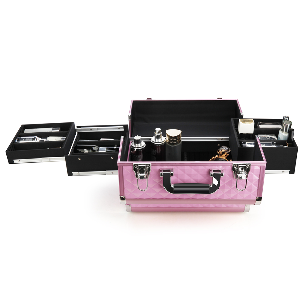 High quality beauty cosmetic case aluminum case with trays inside