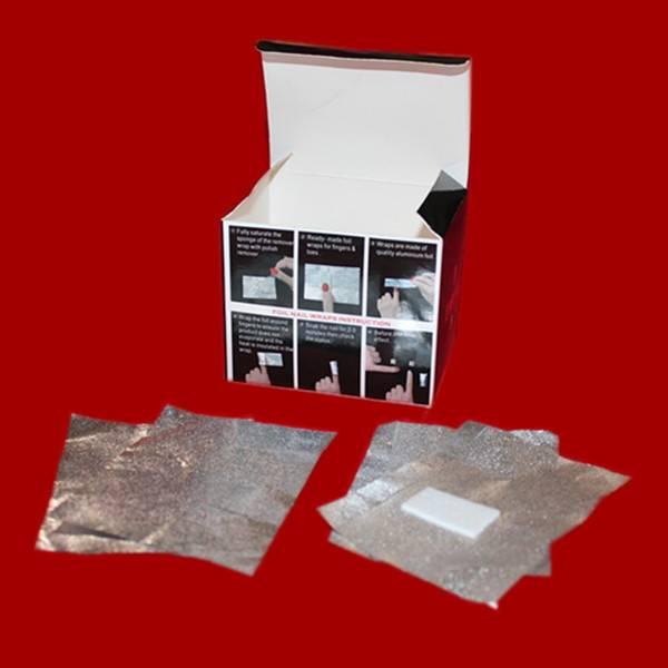 Aluminum foil nail polish remover