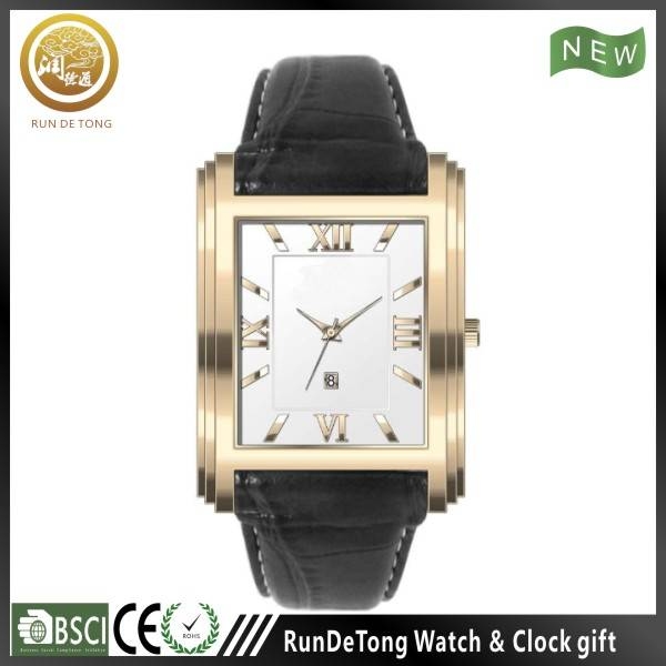 Classic rectangular case japan mov't stainless steel watch genuine leather strap