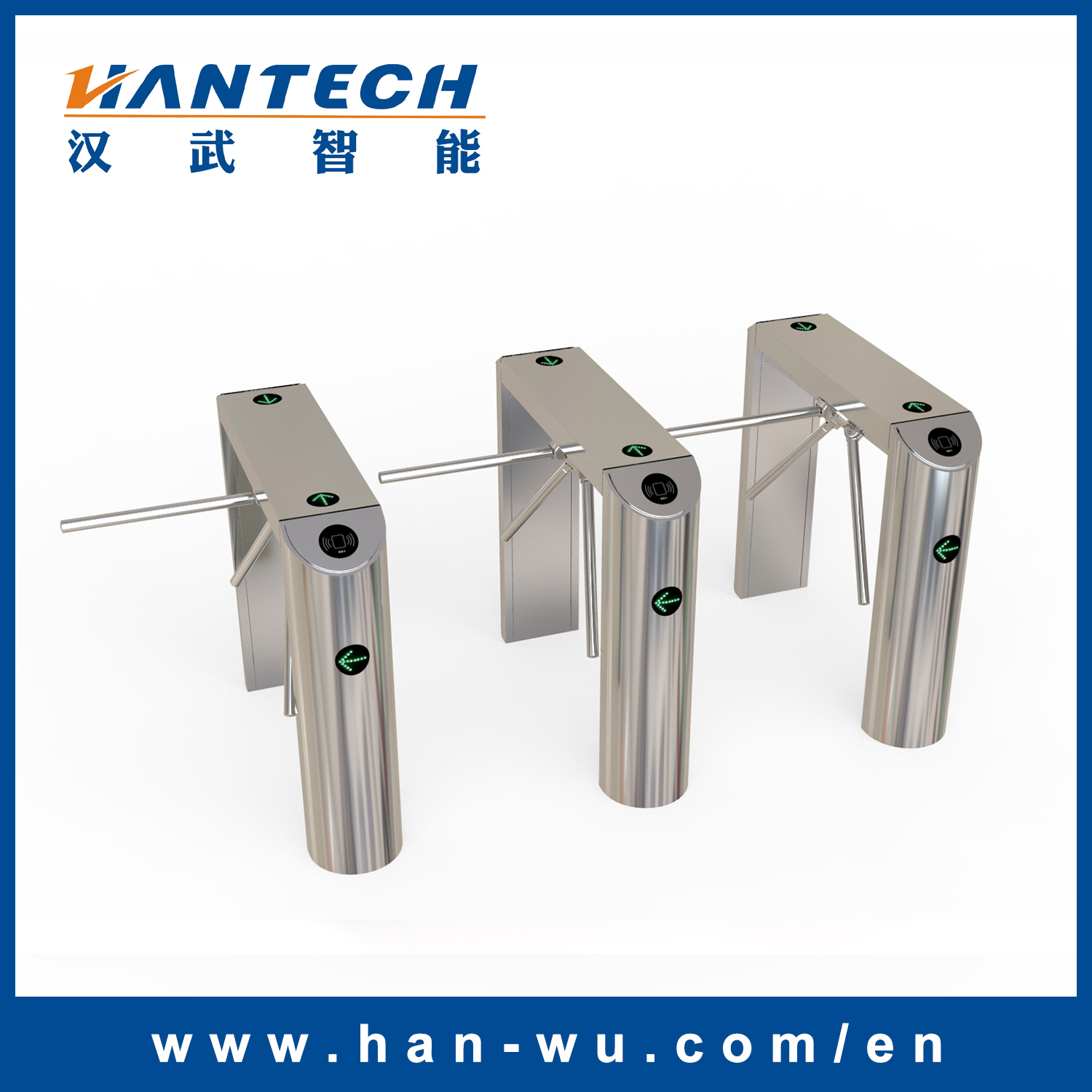 Waist Height Automatic Pedestrian Tripod Turnstile for Entrance Control System