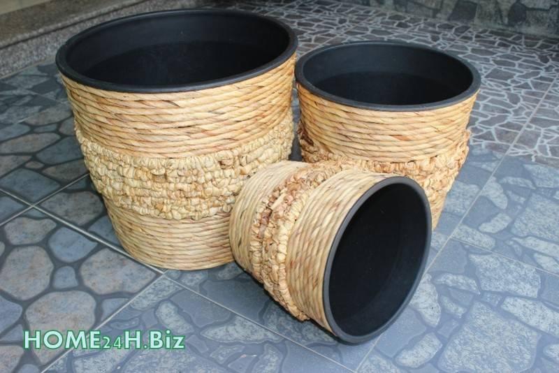 Plastic Pots Hyacinth Home24h - Plastic Pots, Woven Craft-Home24h.biz