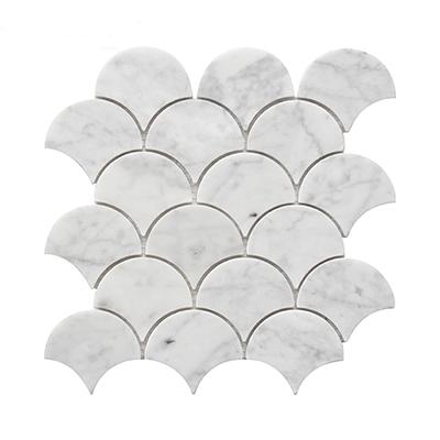 fan-shaped bianco carrara white marble mosaic tile
