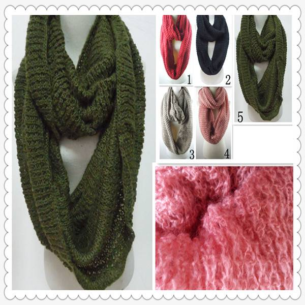 PG1214 women's fashion winter warm knitted loop scarf mohair scarf