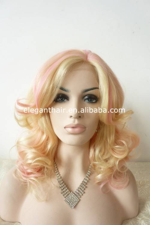 Two tone blonde and pink hair wavy synthetic wig