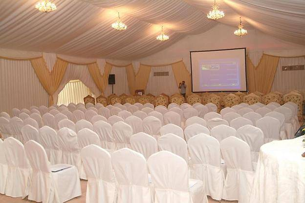party tent with inner lining and lightings