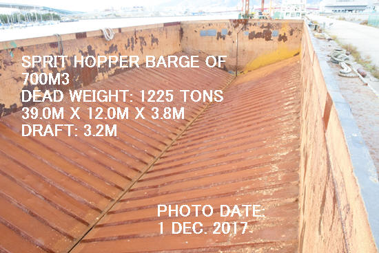 USED SPRIT HOPPER BARGE 39.00M X 12.00M X 3.80M OF CAPACITY 700M3