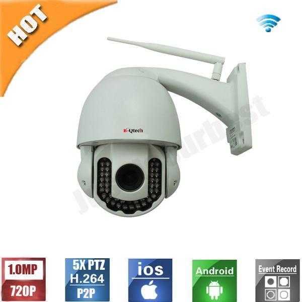 HD 1.0MP 720P 5X Zoom Wireless PTZ IR IP Camera 2.8-12mm lens P2P
