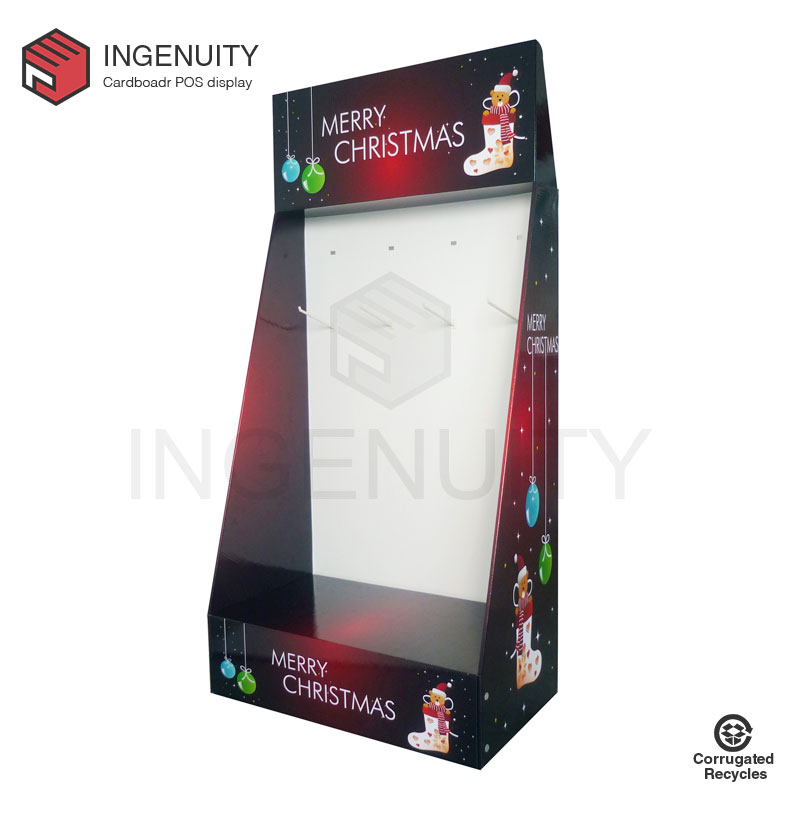 Promotion cardboard display with hooks for christmas gifts FSDU-HOOK-017