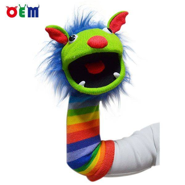 OEM Knitted Hand Puppet for adult nice stripy hand puppets toy