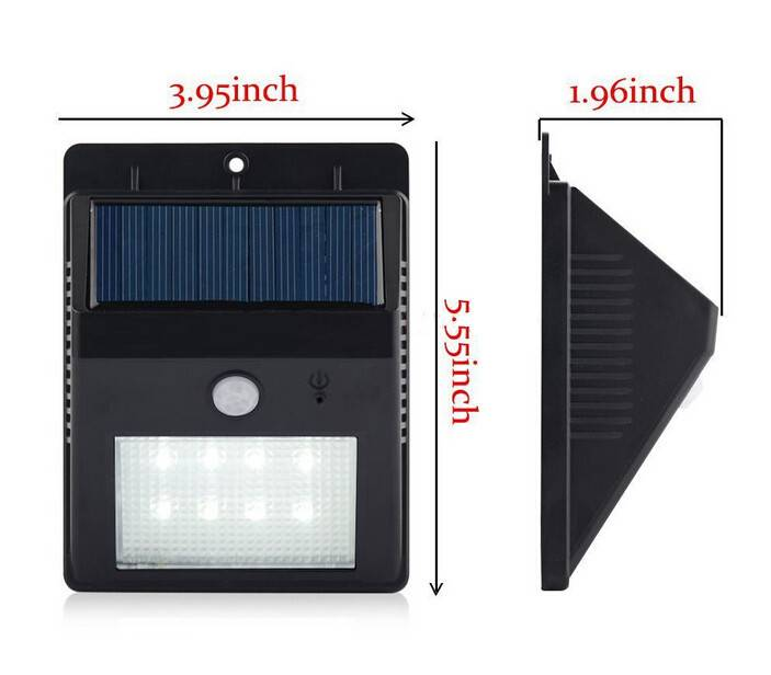8 LEDs Solar Wall Light with Motion Sensor Outdoor Lighting Lights