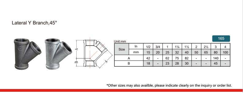 China Malleable iron pipe fitting Lateral Y branch 45°-165 with high quality and proper price