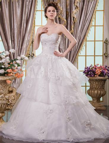 2014 Ivory Ball Gown Sweetheart Strapless Lace Graceful Wedding Dress For Bride