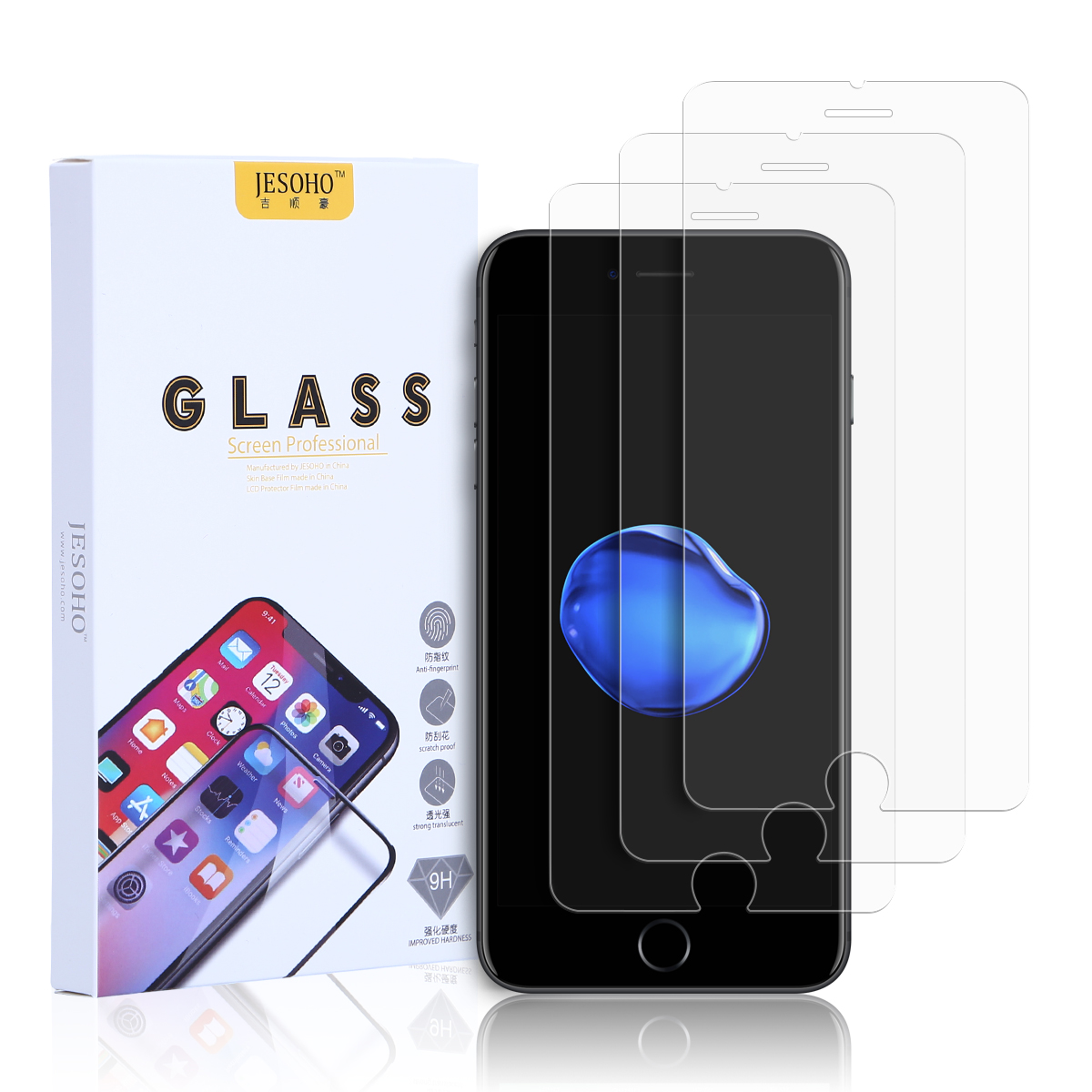 JESOHO iPhone Screen Glass Protector, 3hours strengthen work,