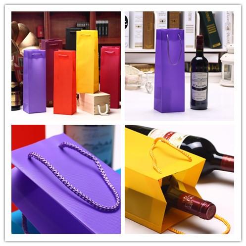 Fancy Waterproof Hexagonal Pattern Wine Gift Bag PP Plastic Jute Bag with PP Handles