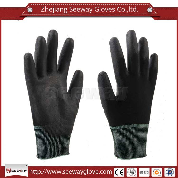 SeeWay 13 gauge nylon gloves pu palm fit working glove