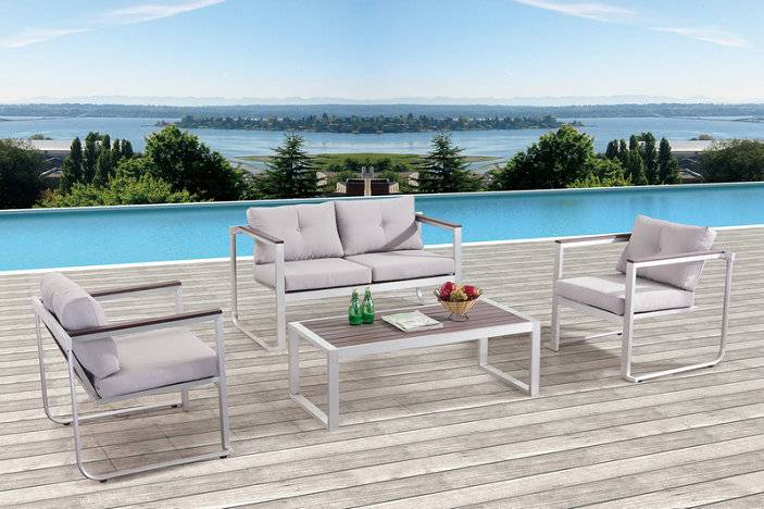 patio furniture brushed aluminum Garden sofa with 10cm cushion and table set SF001