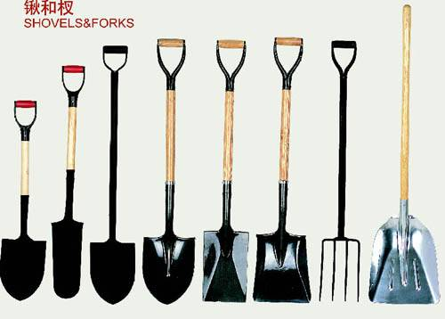 shovel, garden tools, axe
