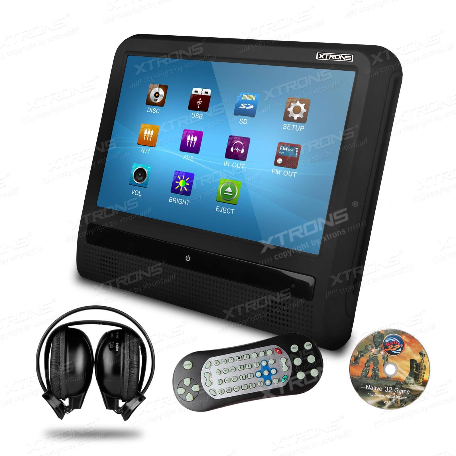 9 Luxury slimmest HD attached headrest DVD player with 2 headphones