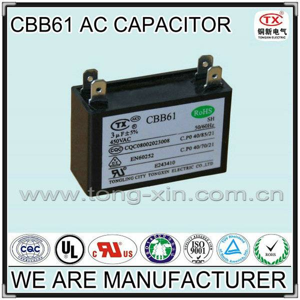 2014 Hot Sale Small Dissipation Factor CBB61 AC MOTOR CAPACITOR