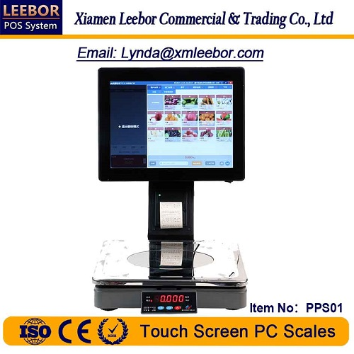 Touch Screen PC Control Scale, Supermarket Retail System Weighing Terminal Intelligent Pricing Scale