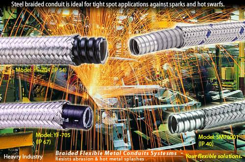 over Braiding Flexible Electric metallic Conduit for heavy equipment wirings