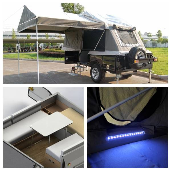 ADRs 62 Off road camp trailer with LED strips near the mattress and switch included
