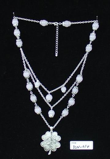 glass bead necklace W/Silver plating