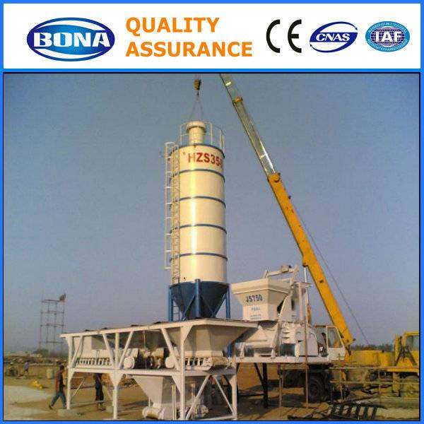 HZS35 stationary concrete batching mixing plant